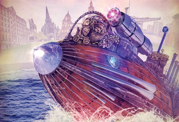 Image for Submarine Time Machine. Depicts old style submarine with futuristic laser on top in front of some famous Glasgow landmarks.
